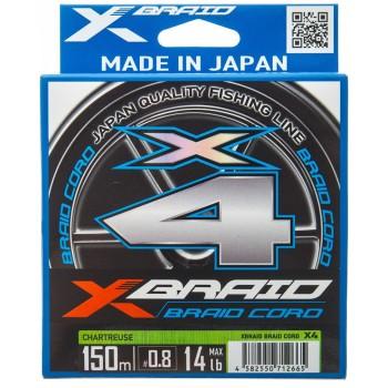 Плетёный шнур X-Braid Braid Cord X4 150m #0.4/8lb